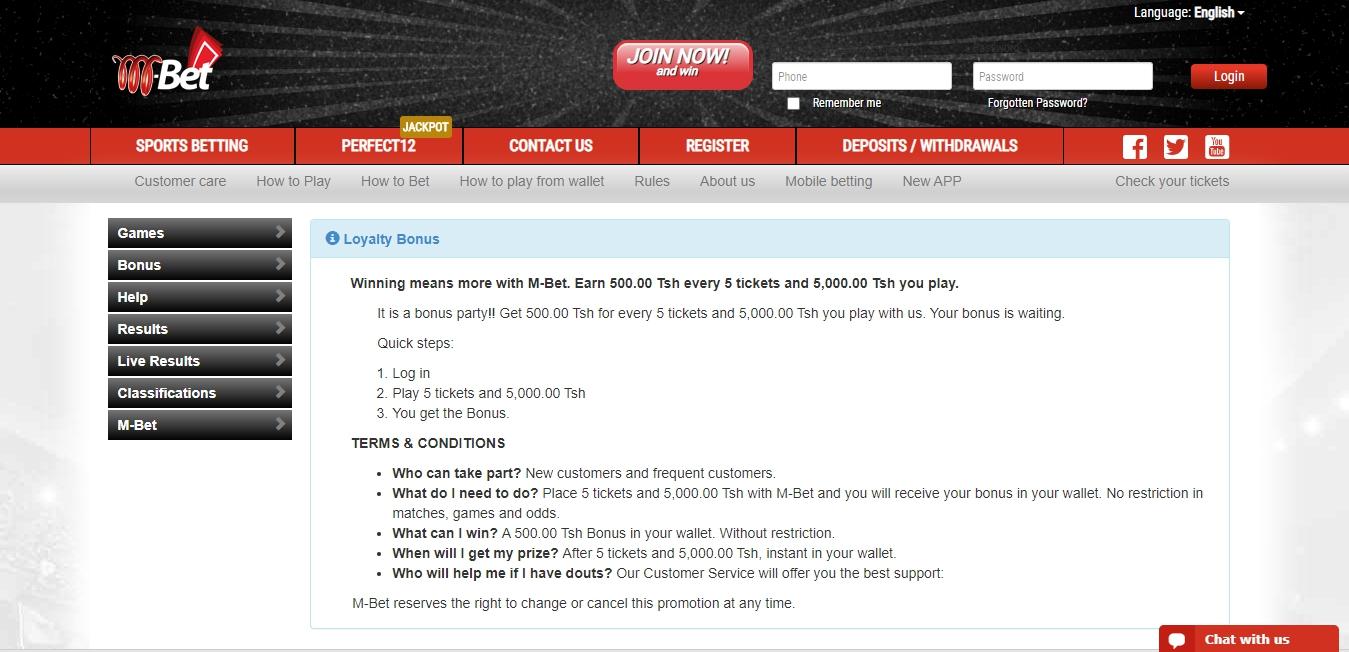 MBet bookmaker's website