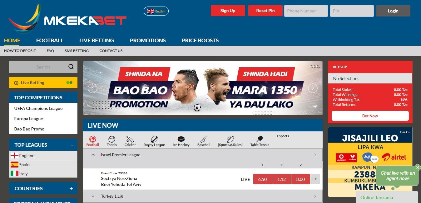 Mkekabet bookmaker's website